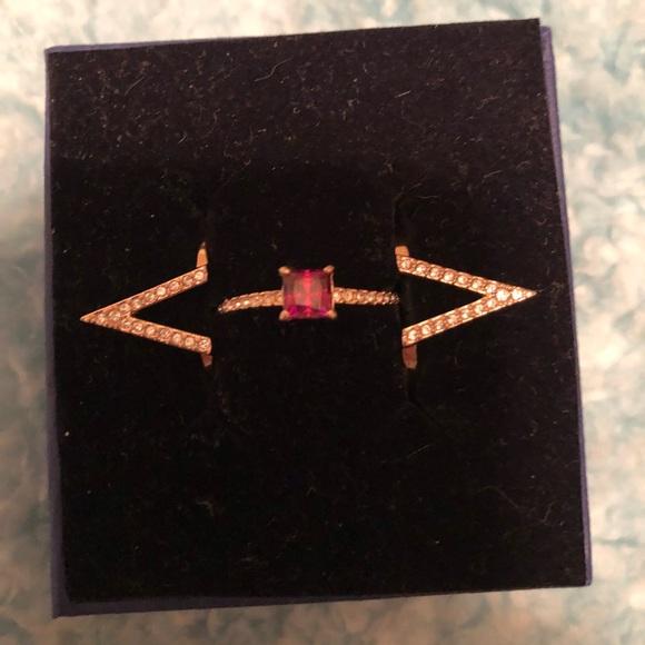 1843146e34831 Swarovski 3 piece Funk Ruby Ring Set